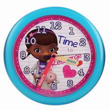 """Wall Clock 10"""" Quartz Disney Doc McStuffins Blue Children NIP"""