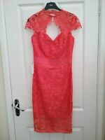 Lipsy VIP Pink i Embroidered Lace Sweetheart Bodycon  Dress Size 8 BNWT RP £130