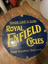 "Porcelain ROYAL ENFIELD   Enamel Sign 16"" INCHES  ROUND"