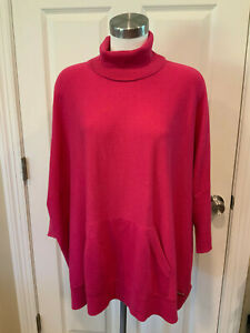 Michael Kors Dark Pink Turtleneck Sweater W/ Short Sleeves, Size Large