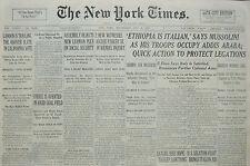 5-1936 May 6 ETHIOPIA IS ITALIAN SAYS MUSSOLINI OCCUPY ADDIS ABABA SELASSIE