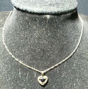 9ct heart cut natural Garnet in a diamond cut solid 9ct gold setting necklace
