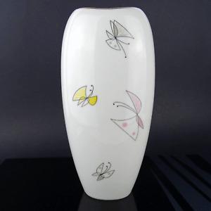 Vtg. Handpainted Butterfly Porcelain Vase by Thomas Rosenthal Germany 1950s #1