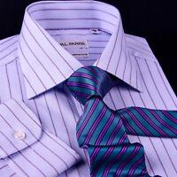 New Blue Striped Dress Shirt Formal Business Designer Stripes Stylish Fashion