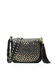 NWT$548 MICHAEL KORS Lthr Jenkins Mixed Studs Brooklyn Med Saddle Bag Black LAST