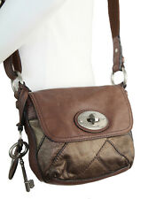 FOSSIL Maddox Bronze Leather Flap Small Turnlock Crossbody Bag Stye no. ZB5031