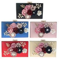 New Satin Women Flower Evening Clutch Bags Pearl Beaded Evening Handbag