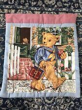 Vintage Handmade Teddy Bear Cushion Cover Charming Teddy With Books VGC