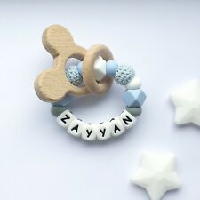 Personalised Silicone Ring - Teething Rattle - Personalised Baby  - Chew Toy