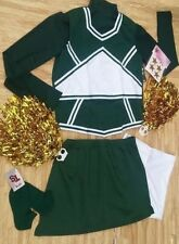 Adult Complete Green Cheerleader Uniform Tops Skirt Brief Poms Socks 39-41/30-34