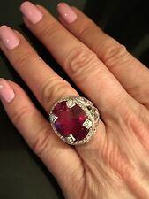 LOREE RODKIN Gorgeous Pink Topaz & 18K White Gold & Diamond Statement Ring!