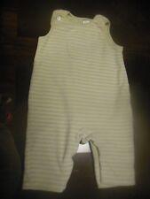 Baby Boys 0-3M Velour Overalls Outfit, Green & White Stripes, Bib Pocket, SOFT!