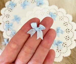 Tiny Baby Blue Bows Mini Satin Bows Embellishment Applique Sewing Craft Supply