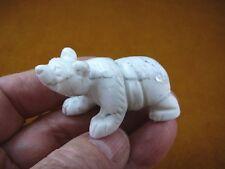 (Y-Bea-Wa-700) White Gray Polar Bear carving Figurine gemstone bears figurine