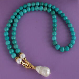 Natural Turquoise Pearl Gemstone Knot Necklace 18KGP Button Christmas New Year