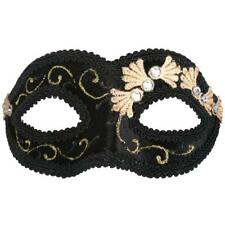 BLACK AND GOLD VELVET MASQUERADE MASK  VENETIAN STYLE PARTY/FANCY DRESS
