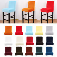 Stretch Short Low Back Chair Seat Cover Home Bar Counter Stool Slipcover
