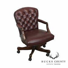 Oxblood Red Leather Tufted Chesterfield Style Executive Office Desk Chair (H)