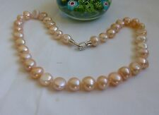 Silver Genuine 11-12mm baroque freshwater pearl Necklace Pink L46cm