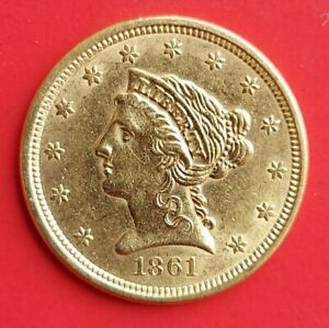1861 $2.5 dollar - Quarter Eagle - Liberty gold coin AU