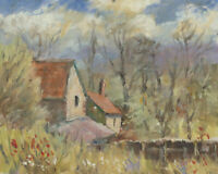John A. Case - 20th Century Acrylic, Cottage & Wildflowers