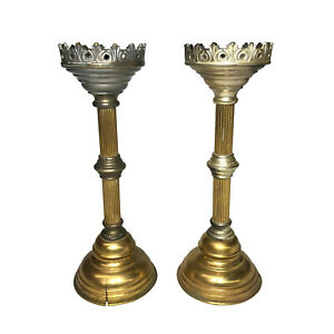 Vintage Gothic Victorian Alter Candle Stick Holders - A Pair