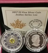 2017 Canada Zodiac Leo $3 Pure Silver Proof Coin with Crystal