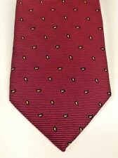 Brooks Brothers Mens Tie Makers Silk Burgundy Gold Paisley Striped Classic USA