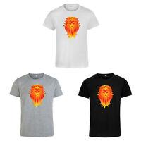 Orange Lion Head Animal Print T-shirt Men's Women's Short Sleeve Casual Tops Tee