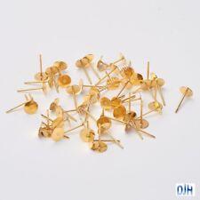 Bulk 10 sets (20pce) DIY Flat Glue Pad Post Stud Earring 12x6mm GP Brass