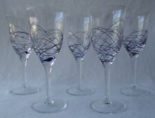 """5 CYNTHIA ROWLEY ROSCHER HAND BLOWN COBALT BLUE SQUIGGLE WINE GLASSES  6"""" T"""