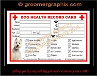 DOG GROOMING PREMIUM HEATLH RECORD CARDS 25 stationery by GROOMERGRAPHIX