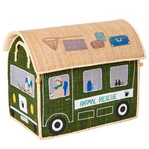 RICE: Spielzeugkorb Medium aus Raffia, Animal Rescue, 46 x 28 x 34 cm