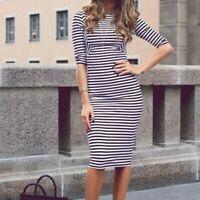 Zara Trafaluc Navy & White Striped Midi Bodycon Dress Women's S Small 3/4 Sleeve