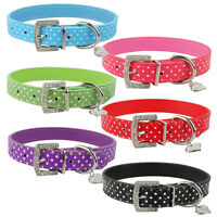 Polka Dot Pet Dog Cat Collar PU Leather Bling UK Seller Rhinestone Buckle