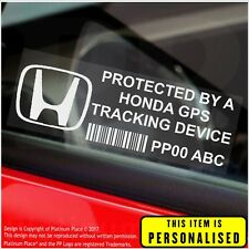 4 x Honda PERSONALISED GPS Tracking Device-Security Stickers-Alarm-Tracker,Car