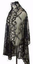 Elegant Oblong Lace Floral Art Scarf Wrap w/ Sequins, Black 2