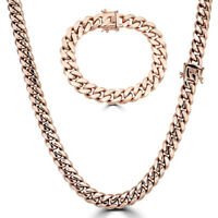 12mm Mens Miami Cuban Link Bracelet & Chain Set 14k Rose Gold Stainless Steel