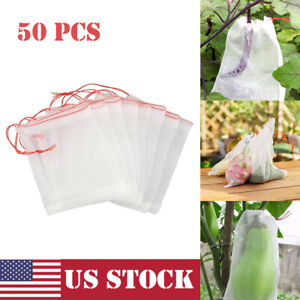 50x Fruit Protection Bags Vegetable Drawstring Mesh Bag Against Pest Insect Bird