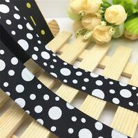 NEW DIY 5 Yards 1'' 25mm Black Circle Printed Grosgrain Ribbon Hair Bow Sewing