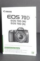Canon EOS 70D Camera Instruction Book / Manual / User Guide