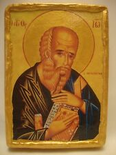 Saint John the Theologian Eastern Orthodox Religious Icon on Aged Wood Plaque