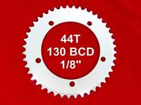 """MOJO Fixed Gear Chainring 44T - 130 BCD Track Fixie single speed 1/8"""" - SILVER"""