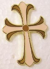 Hat Lapel Pin Push Tie Tac Religious Celtic Stylized Cross brown pink NEW