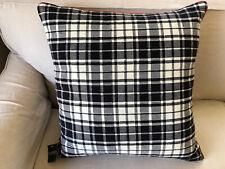 """NWT Ralph Lauren 22"""" Sq. Black & White Plaid Throw Pillow, Down Insert, Red Trim"""