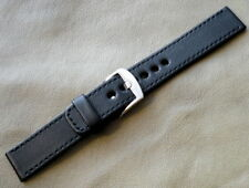 full grain, 1x-black stitch, Eu handmade Black leather 24mm watch strong band