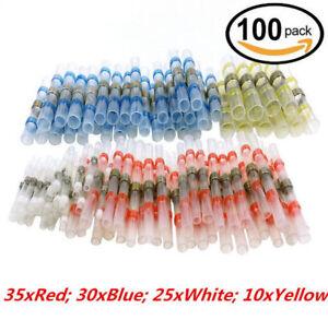 100PCS Solder Sleeve Heat Shrink Butt Waterproof 26-10 AWG Wire Splice Connector