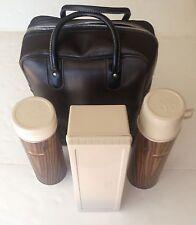Thermos Picnic Tailgate Wood Grain 2 Coffee/Soup Bottles Lunch Box Case VTG QT