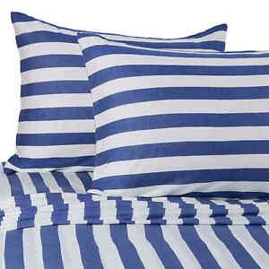 Pure Beech Jersey Knit TWIN XL Sheet Set Nautical Navy White Stripes Dorm Sheets