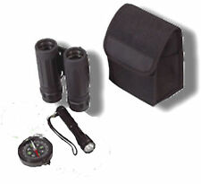 Compact Binoculars Set Torch Compass Poncho In Black Case
